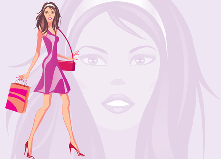 hosiery: fashion shopping girls with shopping bag -  illustration Illustration
