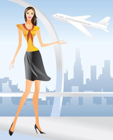 azafata de vuelo: bella azafata en el aeropuerto de los angeles - ilustraci�n  Vectores