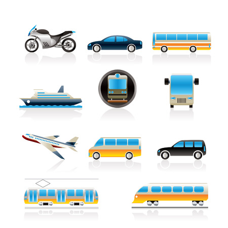 Travel and transportation of people icons - vector icon set Vector