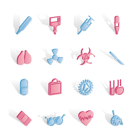 collection of  medical themed icons and warning-signs - vector icon set Stock Vector - 6910090