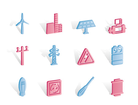 button batteries: Electricity and power icons - vector icon set Illustration