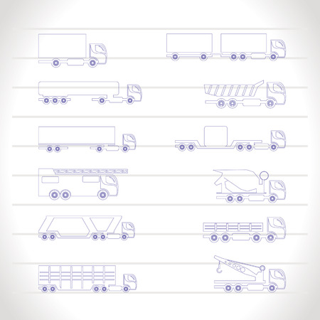 different types of trucks and lorries icons - Vector icon set Vector