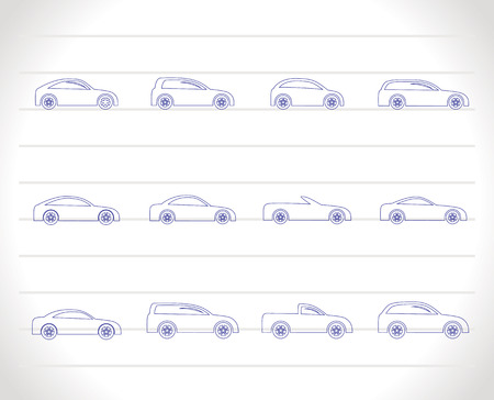 automobile industry: different types of cars icons - Vector icon set