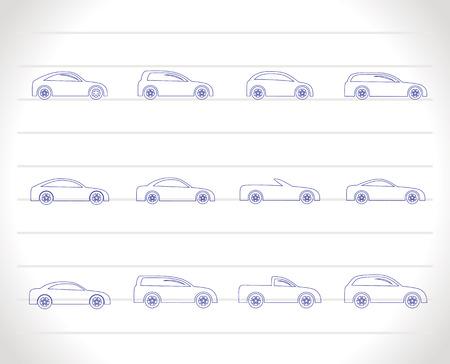 자동차 아이콘 - 벡터 아이콘 세트의 다른 유형