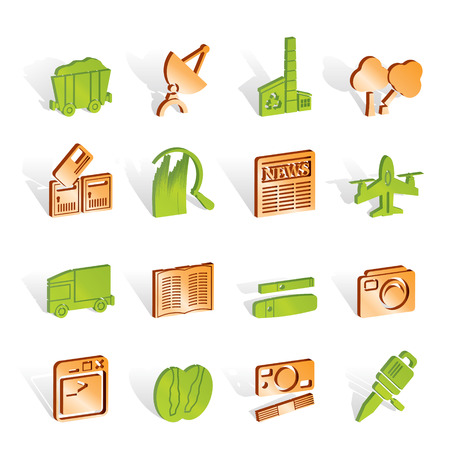 лесозаготовки: Business and industry icons - Vector Icon set