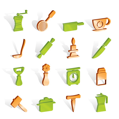 Kitchen and household tools icons - icon set Stock Vector - 6910173