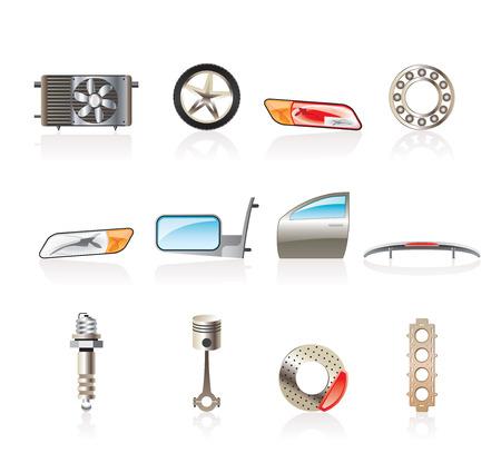breaks: Iconos de piezas de autom�viles y servicios realistas - Vector Icon Set 1