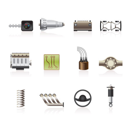 fix gear: Realistic Car Parts and Services icons - Icon Set 2 Illustration