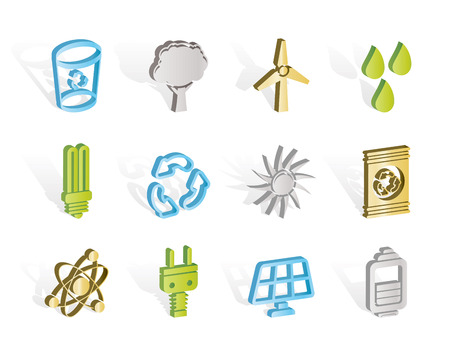 Ecology, energy and nature icons Vector