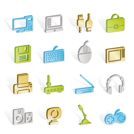 periphery: Computer equipment and periphery icons  Illustration