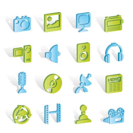 satellite navigation: Medios de comunicaci�n y equipos dom�sticos de iconos  Vectores
