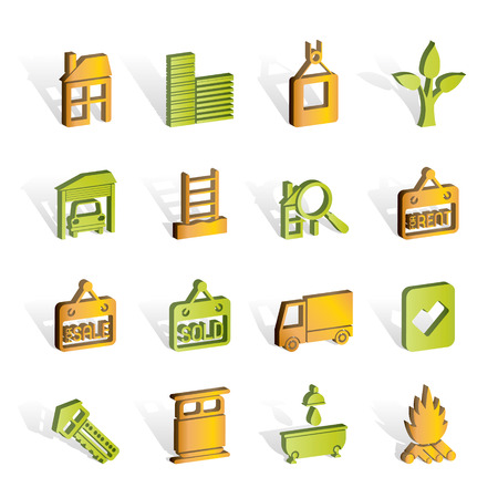 car in garage: Real  Estate and building icons  Illustration