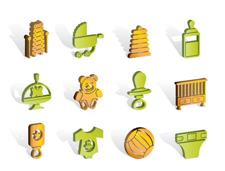 Child, Baby and Baby Online Shop Icons Stock Vector - 7008868