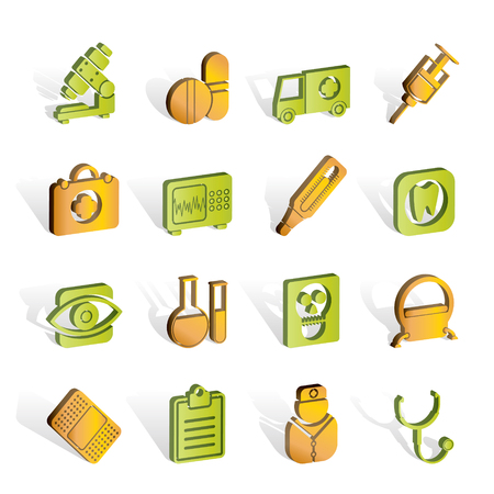 medical, hospital and health care icons Stock Vector - 7008905