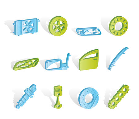 Realistic Car Parts and Services icons - Icon Set 1 Vector