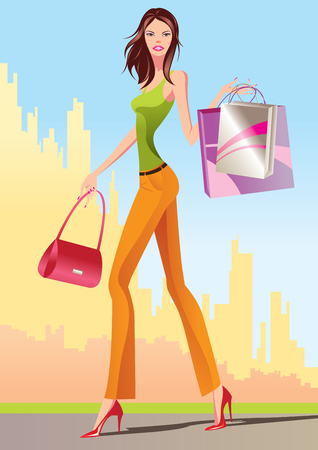 mall: fashion shopping girls with shopping bag -  illustration Illustration