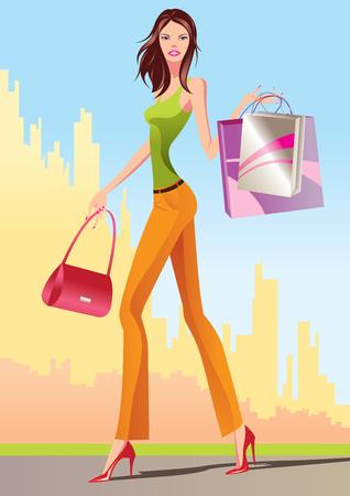 fashion shopping: las ni�as con bolsa de compras - ilustraci�n de compras de moda