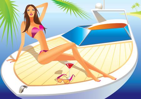 bikini model: beautiful woman with bathing suit on the luxury yacht -  illustration