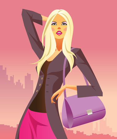 fashion shopping girls with  bag  Vector