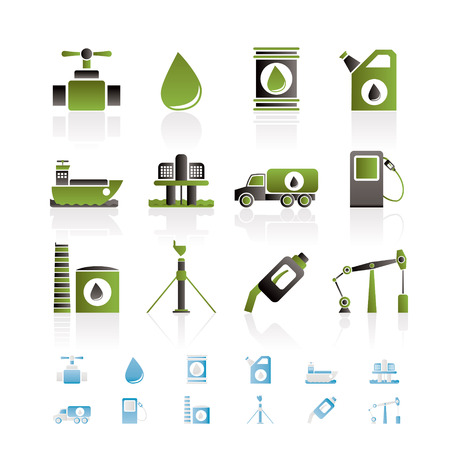 fossil fuel: oil and petrol industry objects icons - icon set Illustration