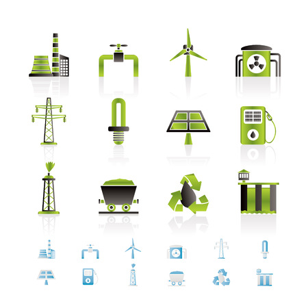 eclectic: Power and electricity industry icons - icon set  Illustration