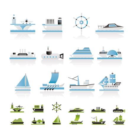 transporteur: diff�rents types d'ic�nes bateau et bateau - jeu d'ic�nes