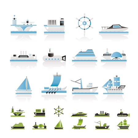old container: different types of boat and ship icons - icon set