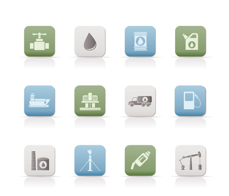 oil and petrol industry objects icons Stock Vector - 7071342