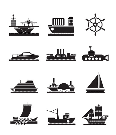 marine industry: different types of boat and ship icons