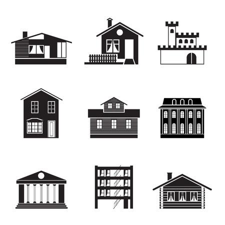 silhouette maison: différent des maisons et des bâtiments - Illustration 1