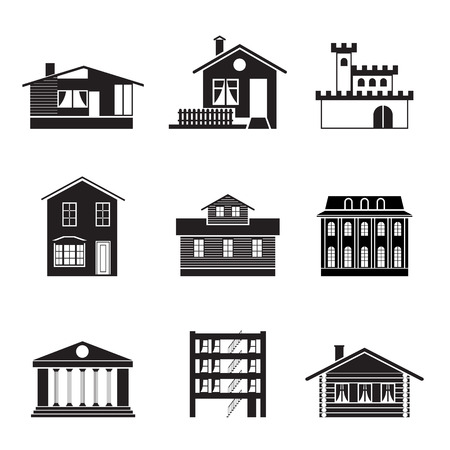town modern home: different kind of houses and buildings - Illustration 1