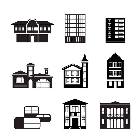 different kind of houses and buildings - Illustration 2 Vector