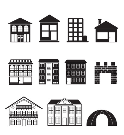 different kinds of houses and buildings - Illustration Vector