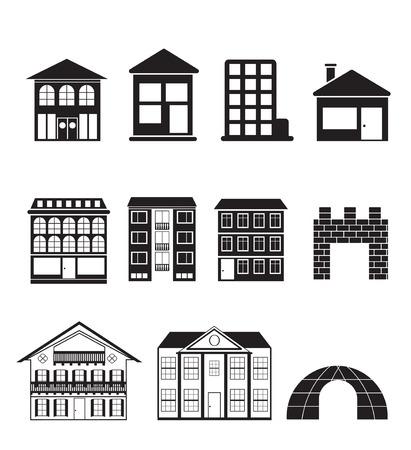 verschillende soorten huizen en gebouwen - illustratie Stockfoto - 7071404