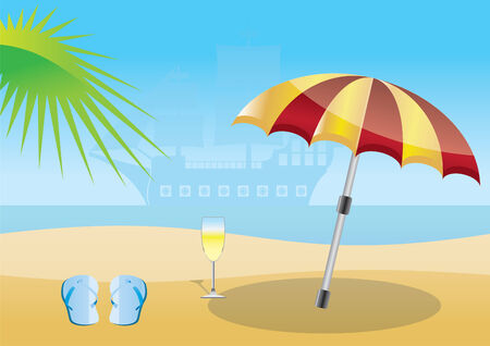 summer, beach and sea  background - illustration Vector