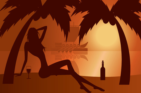 beautiful woman silhouette on a beach - illustration Vector