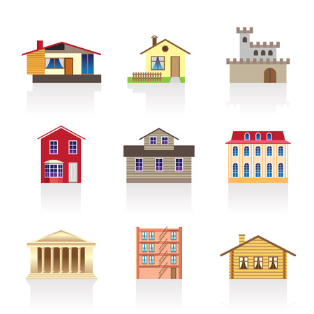 different kind of houses and buildings - Illustration 1 Stock Vector - 7071411