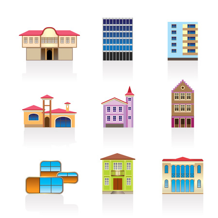 town modern home: different kind of houses and buildings - Illustration 2 Illustration