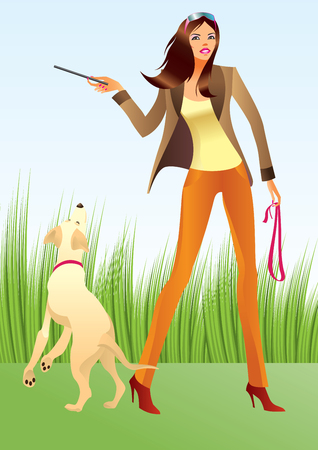 sexy dress: Sexy woman with a dog in the park - illustration