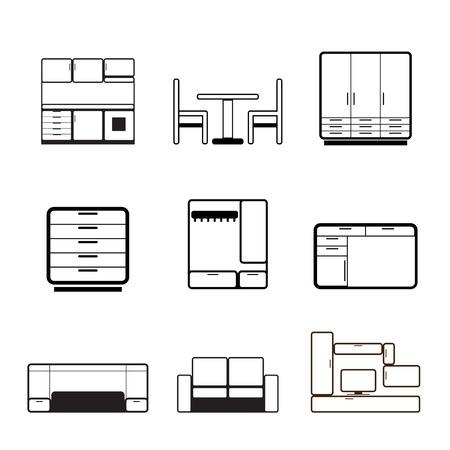 furnishing: Meubelen en stoffering pictogrammen  Stock Illustratie