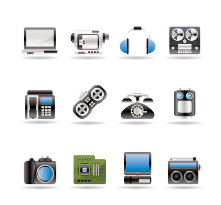 electronics, media and technical equipment icons Vector
