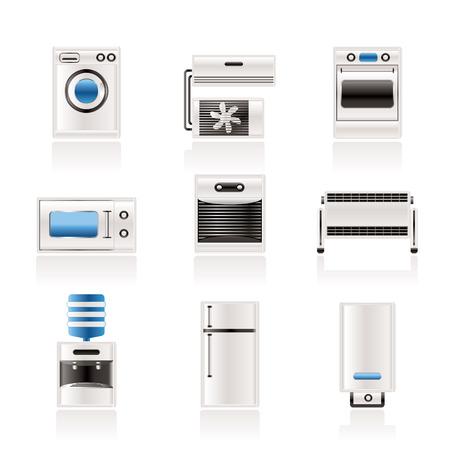 agd: Domowej ikony elektroniki i wyposażenie  Ilustracja
