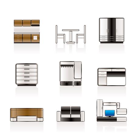 furnishing: Meubilair en inrichting pictogrammen
