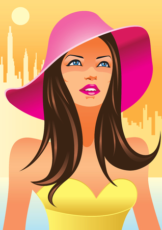 young girl: fashion girls with hat  Illustration