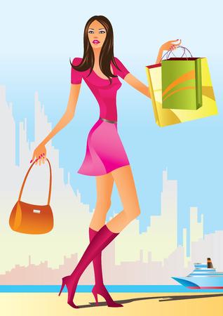 moda ropa: las niñas con bolsa de compras de compras de moda  Vectores