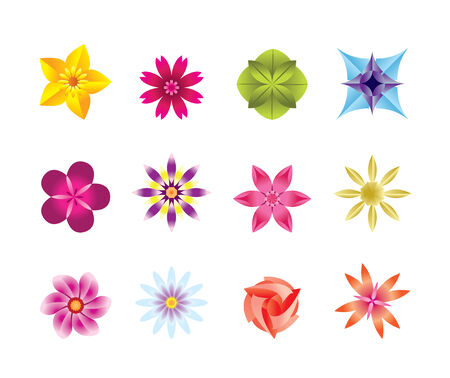 12 abstract flower icons  Vector