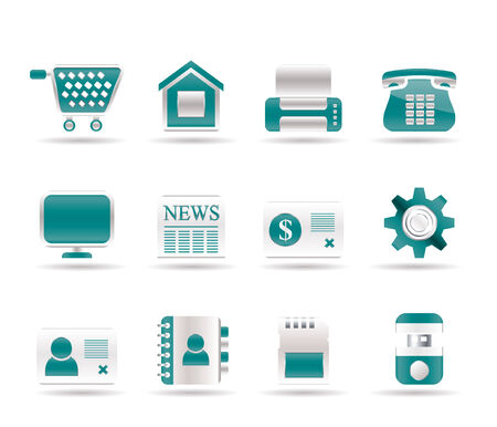 news flash: Business, office and website icons.