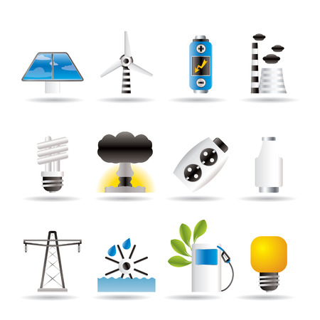 central el�ctrica: Iconos de alimentaci�n, energ�a y electricidad.