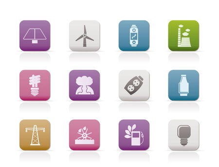 Power, energy and electricity icons. Vector