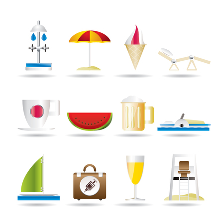 beach and holiday icons - icon set Stock Vector - 7281330
